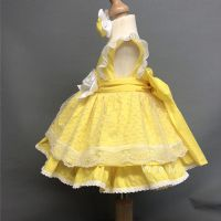 New Arrival Gorgeous Baby Girl Lemon Spanish Puff Ball Lacey Dress
